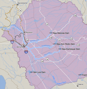 Map of the San Joaquin and its tributaries, flowing northwesterly into the Delta. CA State Water Resources Control Board, public domain.